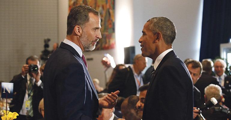König Felipe im Gespräch mit US-Präsident Barack Obama. Foto: EFE