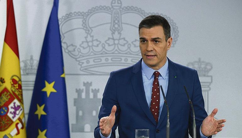 Pedro Sánchez erklärte in einer Rede im Moncloa-Palast den festen Vorsatz zur Einheit seiner Regierungskoalition. Foto: EFE