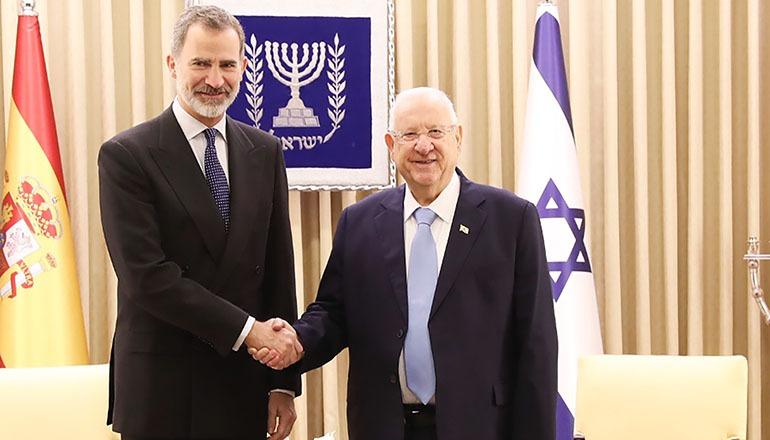 König Felipe wurde in Jerusalem vom israelischen Staatspräsidenten Reuven Rivlin empfangen. Foto: Casa de su majestad el rey