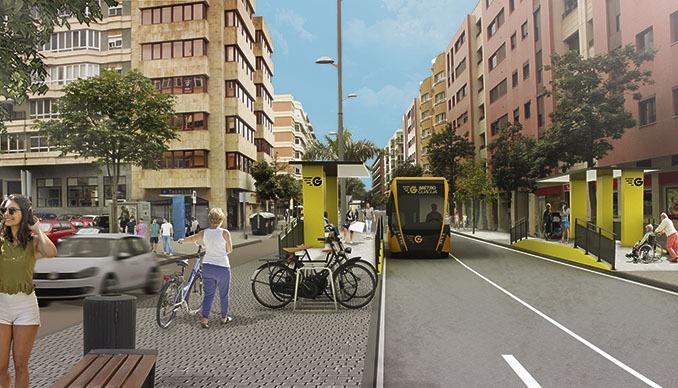 Zukunftsvision: Die E-Busse werden auf einem 11,7 Kilometer langen Korridor durch Las Palmas fahren. Foto: Ayto Las Palmas