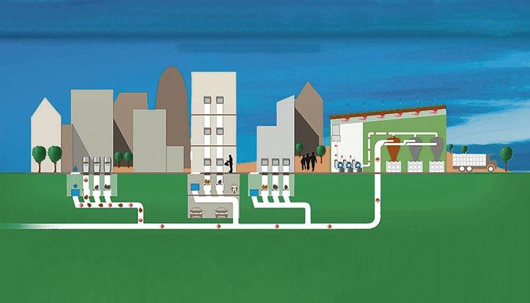 Aufbau und Funktionsweise der Müllsauganlage, für die sich Adasat Reyes interessiert.