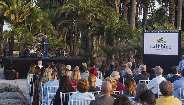 Cabildo-Präsident Morales bei seiner Rede zur Wiedereröffnung des Parks Fotos: Cabildo de Gran Canaria