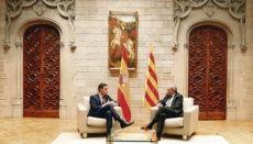 Quim Torra empfing Pedro Sánchez am 6. Februar im Palau de la Generalitat in Barcelona Foto: EFE