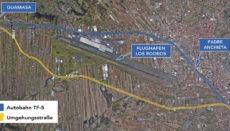 Die Umgehungsstraße beginnt bei Guamasa, verläuft parallel zum Nordflughafen und mündet auf der Höhe der Verbindung zur Via de Ronda wieder in die Nordautobahn TF-5. Grafik: Wochenblatt