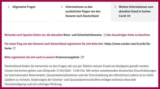 Screenshot der Website spanien.diplo.de mit Infos zur Rückholaktion nach Deutschland