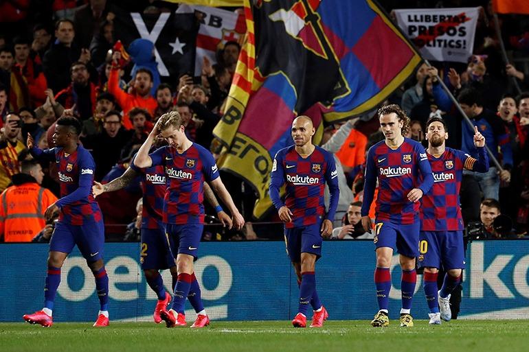 Spieler des FC Barclona im Camp Nou-Stadion in Barcelona