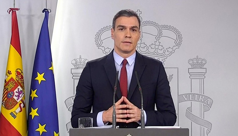 Spaniens Präsident bei der Fernsehansprache am 14. März, in der er den Alarmzustand für das gesamte Staatsgebiet erklärte.