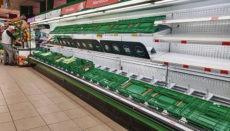 Leere Obst- und Gemüsekisten in einem Supermarkt. Der Verband der spanischen Supermarktketten (ACES), dem Auchan, Carrefour, Eroski, Lidl und Supercor angehören, hat am 11. März angesichts des großen Ansturms auf die Supermärkte in einigen Gebieten Spaniens dazu aufgerufen, Ruhe zu bewahren. foto: efe
