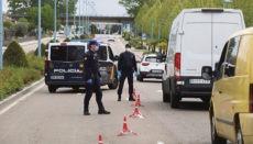 Polizeikontrolle am 30. April in Salamanca im Vorfeld des langen Wochenendes Foto: EFE