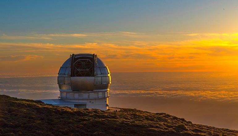 """Das """"Gran Telescopio de Canarias"""" (Grantecan) steht auf dem Roque de los Muchachos auf der Insel La Palma. Foto: EFE"""