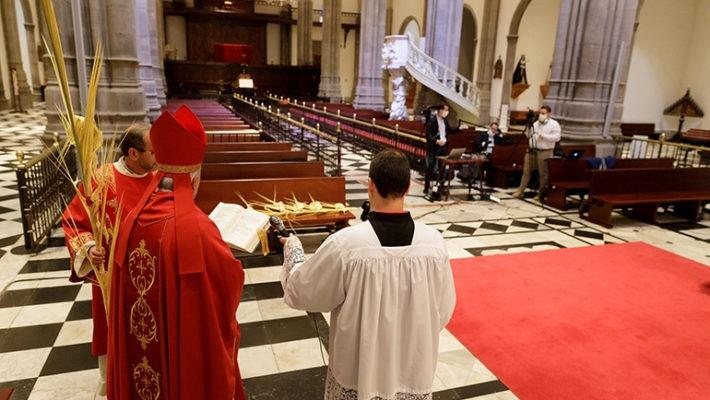 Teneriffas Bischof Bernardo Álvarez feierte die Eucharistie am Palmsonntag in der leeren Kathedrale von La Laguna. Foto: EFE