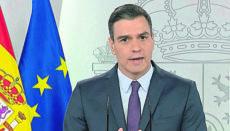 Pedro Sánchez bei der Fernsehansprache am 2. Mai Foto: EFE
