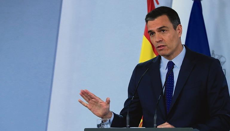 Pedro Sánchez bei einer Pressekonderenz am 14. Juni Foto: EFE