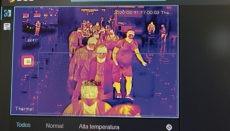 Ein Bildschirm des neuen Systems zur Kontrolle der Körpertemperatur der Passagiere, mit dem der Flughafen Adolfo Suárez Madrid-Barajas ausgestattet wird Foto: EFE