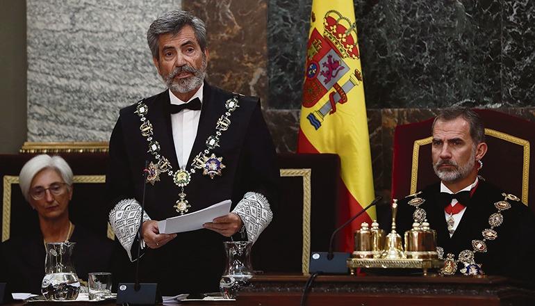 Der Präsident des Obersten Spanischen Gerichtshofes, Carlos Lesmes, während seiner Ansprache zur Eröffnung des Gerichtsjahres im Beisein von König Felipe VI. am 7. September in Madrid Foto: EFE