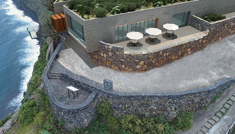 Wie in diesem Entwurf soll der gläserne Aussichtspunkt in Barlovento auf La Palma aussehen, wenn er fertiggestellt ist. Foto: Ayuntamiento Barlovento