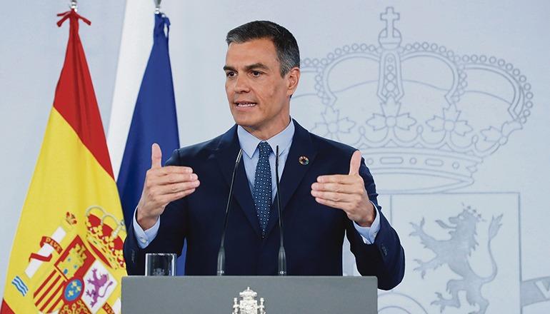 Pedro Sánchez bei der Pressekonferenz im Anschluss an die Ministerratssitzung Foto: efe