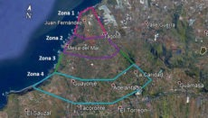 Das Gemeindegebiet Tacoronte: Zone 1 ist das Areal, von dem man weiß, dass dort Termiten aktiv sind. Die anderen drei Zonen werden in verschiedenen Intensitätsgraden ebenfalls auf die Anwesenheit der Insekten überprüft. Rechts im Bild, in Valle Guerra, befindet sich ein Ausbreitungsgebiet, für welches das Ayuntamiento von La Laguna zuständig ist. Foto: Ayuntamiento de Tacoronte