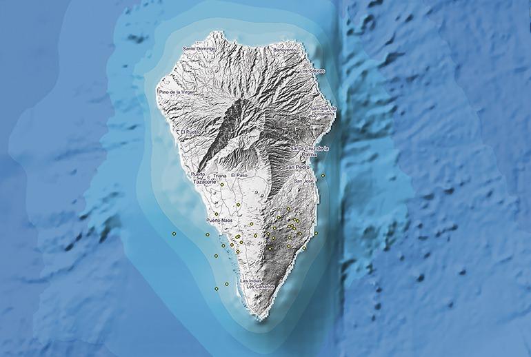 Diese Karte des Instituto Geográfico Nacional (IGN) zeigt die örtliche Verteilung der Schwarmbeben auf der Insel La Palma. Foto: ign
