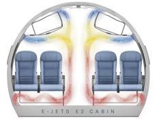 """Embraer schreibt: """"Wussten Sie, dass in der Kabine der Embraer E-Jets die Luft jede Stunde mindestens 20-mal komplett erneuert wird? HEPA-Filter und Luftströme leisten eine 99,97%ige Effektivität, was das Einfangen von in der Luft vorhandenen Partikeln und anderen Verunreinigungen angeht."""" Foto: Embraer"""