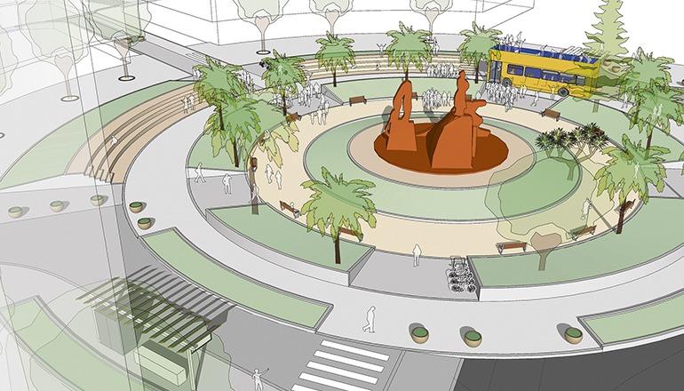In Zukunft soll die Plaza de España den Fußgängern und Radfahrern gehören. Einzige Ausnahme für den motorisierten Verkehr wird eine Busspur sein. Foto: ayuntamiento de Las palmas