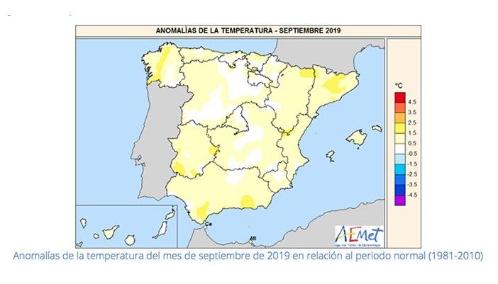 AEMET stellt die Temperaturabweichungen gegenüber dem Zeitraum 1981 bis 2010 dar. Foto AEMET