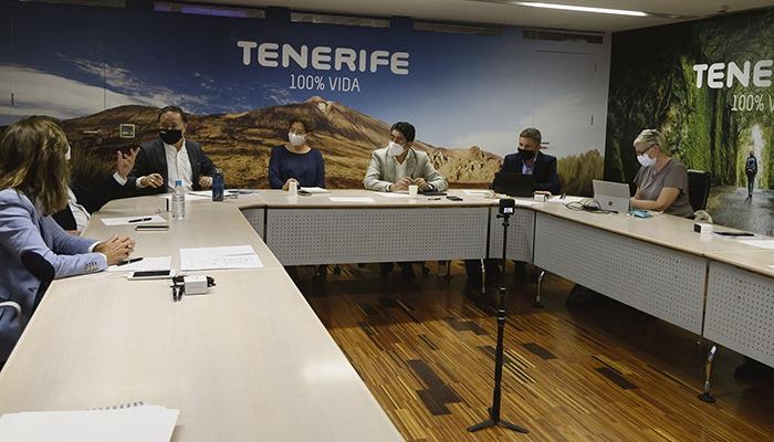 Vertreter des Cabildos und des Tourismusamts von Teneriffa bei einer der virtuellen Besprechungen des WTM 2020 Foto: cabildo de tenerife
