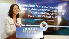 "Die Ministerin für Tourismus, María Reyes Maroto, bei der Präsentation der Kampagne ""Back to the Canary Islands"" in Las Palmas de Gran Canaria Foto: EFE"