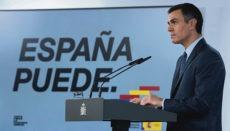 Regierungschef Pedro Sánchez verkündete in einer Pressekonferenz am Sonntag, dem 25. Oktober 2020, die Verhängung des Alarmzustandes, dieses Mal mit einer auf die Nacht beschränkten Ausgangssperre, von der nur die Kanaren ausgenommen sind. Foto: EFE