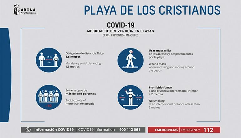 An Teneriffas Stränden wurden einheitliche Informationsschilder für die Corona-Vorschriften aufgestellt. Foto: Cabildo de Tenerife