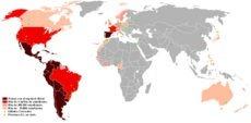 Länder, in denen Spanisch Amtssprache ist (dunkelbraun) bzw. in denen über eine Million (rot), über 100.000 (rosa) oder über 20.000 (altrosa) Menschen Spanisch sprechen, sind über den gesamten Globus verteilt. Foto: MIGANG2G