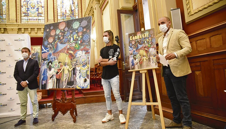 Bürgermeister Bermúdez und der Künstler präsentierten das Plakat im Rathaus. Foto: Ayuntamiento de santa cruz de tenerife