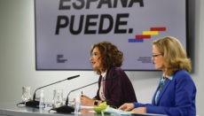 Die Ministerinnen María Jesús Montero (Finanzen) und Nadia Calviño (Wirtschaft) nach der Ministerratssitzung Foto: efe