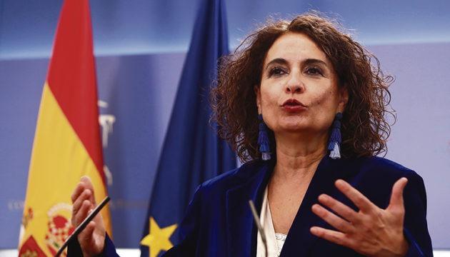 Finanzministerin Montero bei der Pressekonferenz im Anschluss an die Parlamentssitzung Foto: EFe