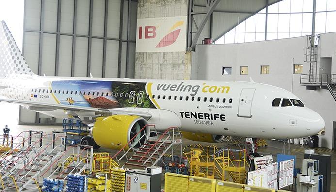 Der Airbus 320neo mit den Teneriffa-Motiven auf der Außenhülle Foto: CABTF