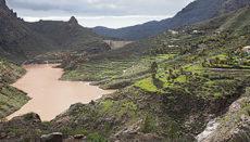 Der Stausee Soria auf Gran Canaria, der größte der Insel, nach den ergiebigen Niederschlägen Anfang Januar. Foto:EFE