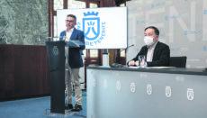 David Pérez (l.) und José Gregorio Martín Plata erläuterten am 16. Februar die Tourismusbilanz der Insel für das Jahr 2020. Foto: Cabildo de Tenerife