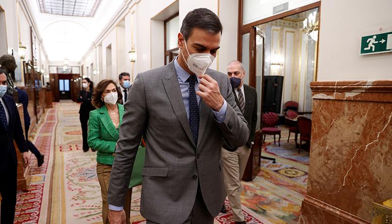 Regierungschef Pedro Sánchez steht in der Kritik. Foto: EFE