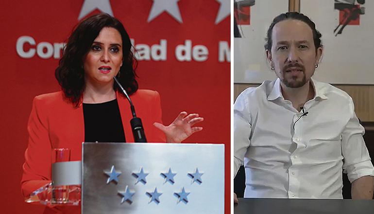 Madrids Präsidentin Isabel Díaz Ayuso (PP) muss am 4. Mai gegen Pablo Iglesias (Podemos) antreten, nachdem dieser seinen Rückzug aus der Zentralregierung ankündigte, um bei den Regionalwahlen gegen die Rechte anzutreten. Fotos: EFE