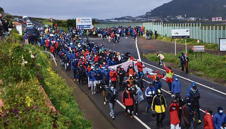 Den Veranstaltern zufolge nahmen 1.200 Personen an der friedlichen Demo am 6. März teil. Foto: moisés pérez