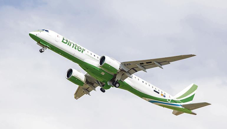 Binter setzt auf den internationalen Routen Jets des brasilianischen Flugzeugherstellers Embraer ein. Foto: binter
