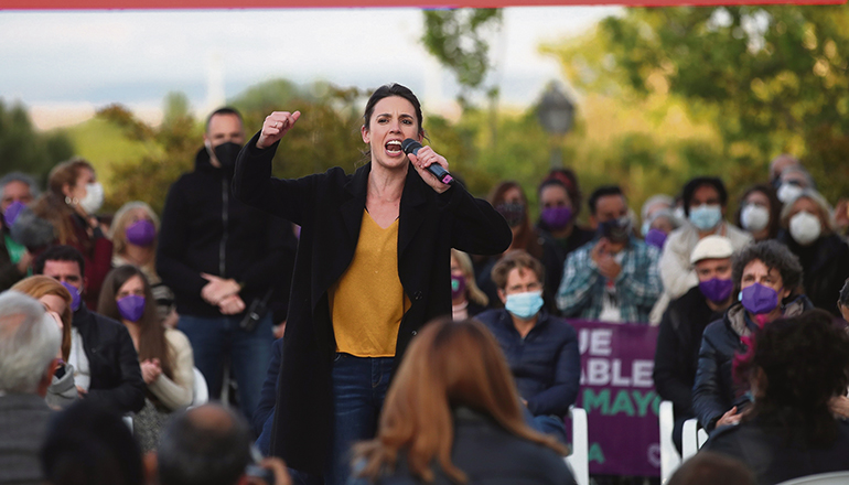 Irene Montero, Ministerin für Gleichstellung im Kabinett von Pedro Sánchez, beim Wahlkampf für ihre Partei Unidas Podemos in Madrid Foto: EFE