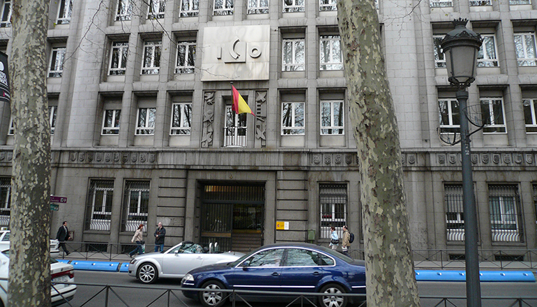 Fassade des Sitzes des staatlichen spanischen Kreditinstituts ICO in Madrid Foto: ICO
