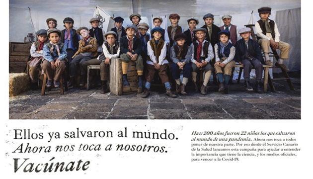 """""""Sie haben schon die Welt gerettet. Jetzt sind wir dran"""" – unter diesem Motto erinnert die Kampagne der kanarischen Regierung an die """"22 Engel"""", die mit der """"Balmis-Expedition"""" 1803 die Pockenschutzimpfung auf die Kanarischen Inseln und danach nach Lateinamerika brachten. Foto: vacunatecanarias.com/Gobierno de Canarias"""