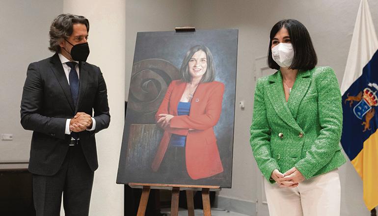 Das Portrait der ehemaligen Präsidentin des kanarischen Parlaments und jetzigen spanischen Gesundheitsministerin Carolina Darias wurde im Parlament in SantaCruz de Tenerife aufgehängt. Foto: EFE