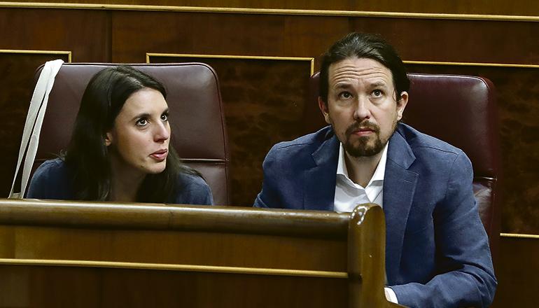 Irene Montero und Pablo Iglesias im Abgeordnetenkongress (Archivbild) Foto: EFE