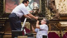 Die Büste des emeritierten Königs Juan Carlos I. wurde im Juli 2015 aus dem Plenarsaal der Stadtverwaltung von Barcelona entfernt. Foto: efe