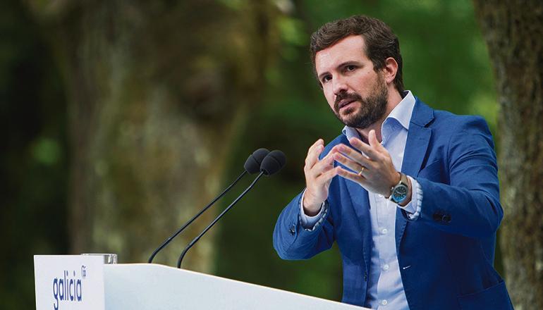 """Politischer Auftakt nach dem Sommer: PP-Chef Casado bezeichnete Pedro Sánchez als """"arroganten Lügner"""". Foto: EFE"""
