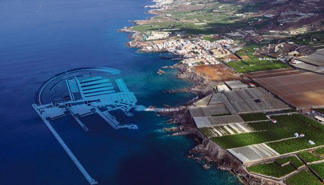 """Der """"Mega-Hafen"""" soll zwischen Alcalá und Playa San Juan gebaut werden. Foto: FOTOSAEREASDECANARIAS.COM"""