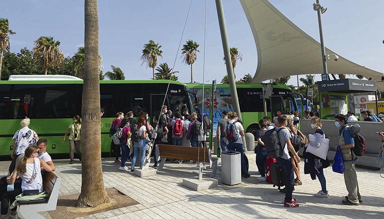 An den Titsa-Haltestellen am Südflughafen herrscht reger Betrieb. Foto: Cabildo de Tenerife